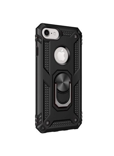 Microsonic Apple iPhone 7 Kılıf Military Ring Holder Siyah Siyah